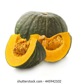 whole and slices of Japanese pumpkin kabocha on a white background