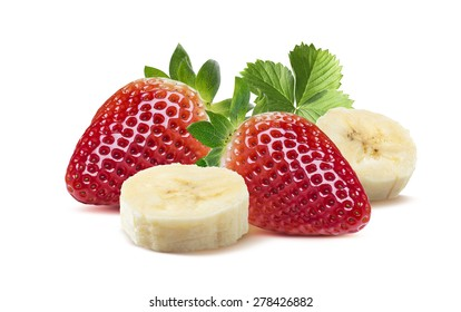 Whole strawberries and banana pieces 6 isolated on white as package design element