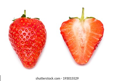 Whole Strawberry And Strawberry Slice Isolated