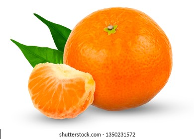 Whole tangerine peel with a slice of tangerine on a white background