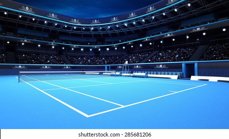 whole tennis court from the perspective of the player tennis sport theme render illustration background