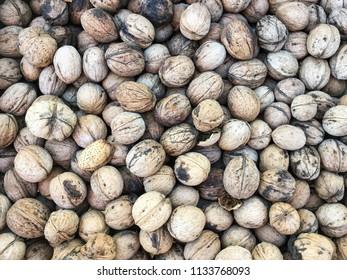 Whole walnuts background