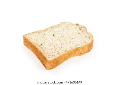 whole wheat bread on white background.