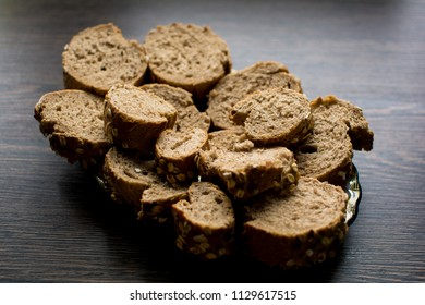 Whole wheat cereal bread slices on a plate