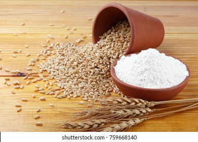 Whole Wheat Flour with wheat grains Whole-wheat flour or wholemeal flour is a powdery substance, a basic food ingredient, derived by grinding the whole grain of wheat, also known as the wheatberry