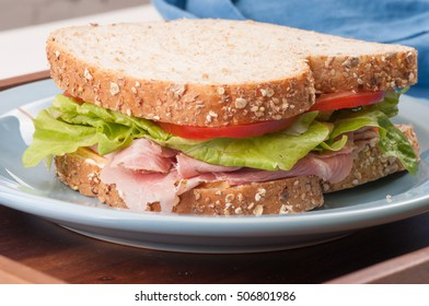 whole wheat rosemary ham sandwich for take out or takeaway