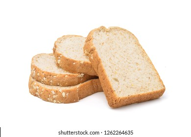 Whole wheat sliced bread with whole grain isolated on white background with clipping path.