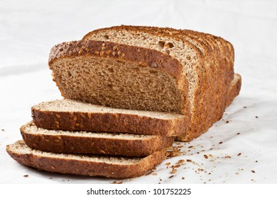 Whole wheat toast bread on white
