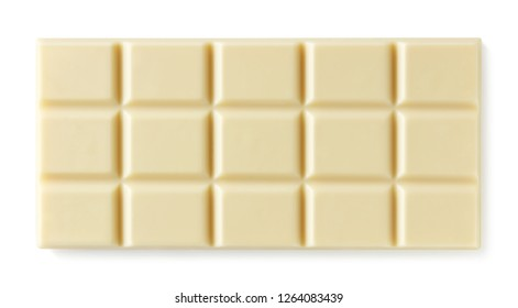 Whole white chocolate bar isolated on white background. Top view