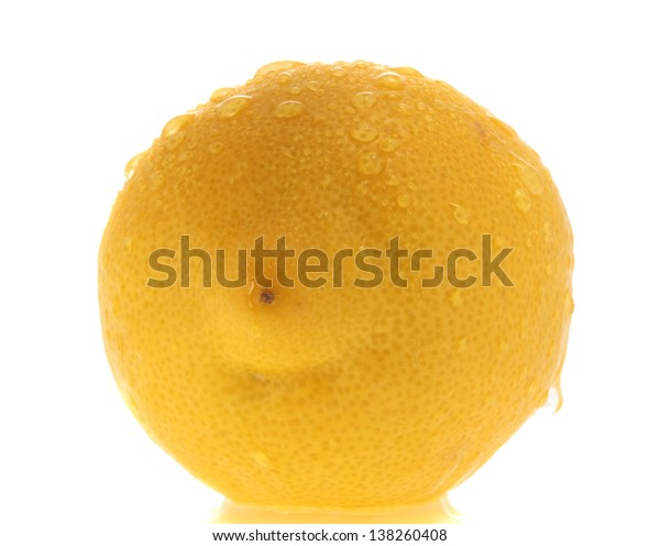 whole yellow lemon with waterdrop, isolated on white
