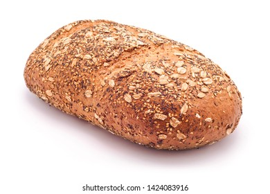 wholegrain bread loaf with mixed seeds isolated