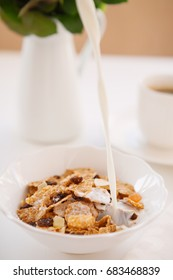 whole-grain cereals with milk for breakfast, selective focus