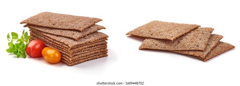 Wholegrain crispbread, rye crisp, isolated on white background.