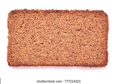 wholegrain dark bread slice shot from above, studio isolated