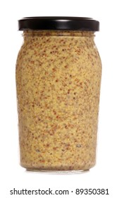 wholegrain mustard on a white background