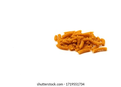 wholegrain pasta spirelli on withe background