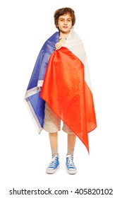 Whole-length boy picture wrapped in flag of France