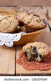 Wholemeal banana muffins with chocolate