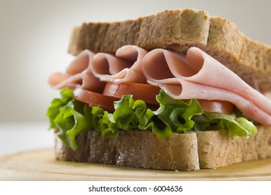 wholemeal bread and ham sandwich still life