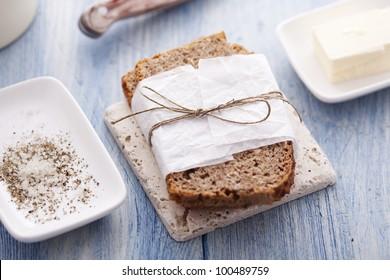 wholemeal bread, salt, pepper and butter