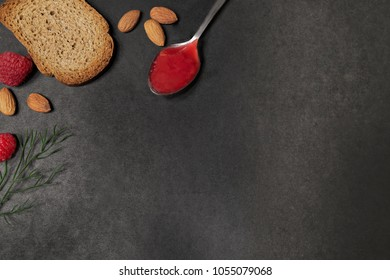 Wholemeal toast and  raspberry jam background