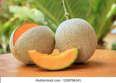 Whole,part and sliced of Japanese melons,honey melon or cantaloupe (Cucumis melo) on wooden table with blurred garden background.Favorite fruit in summer.Food,Fruits or healthcare concept.