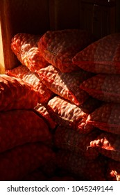 Wholesale bags of onions at the weekly market in  Aung Ban,  Myanmar (Burma)