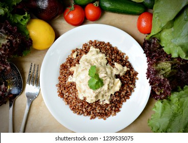 wholesome breakfast, buckwheat with gravy, buckwheat for the menu