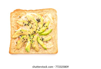 wholewheat bread toast with avocado isolated on white background