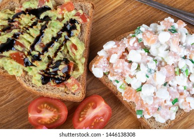 Wholewheat toast with avocado-tomato salsa and with salmon and cottage cheese