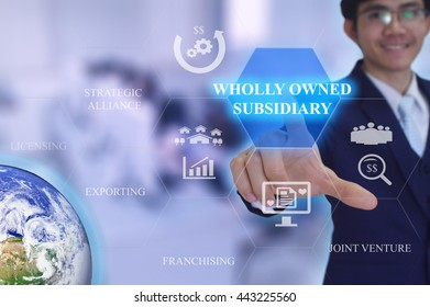 WHOLLY OWNED SUBSIDIARY  in entry strategy concept presented by  businessman touching on  virtual  screen -image element furnished by NASA