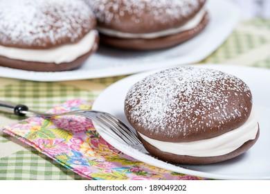 Whoopie pie, chocolate cake dessert, shallow depth of field