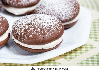 Whoopie pie, chocolate cake dessert, shallow depth of field