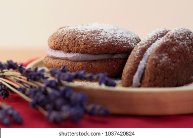 Whoopie pie dessert with lavender buttercream frosting close up