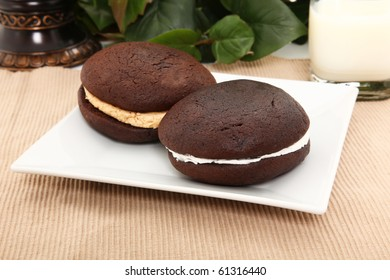 Whoopie Pies On White Plate