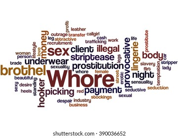 Whore, word cloud concept on white background.