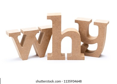 WHY wood word isolated on white background