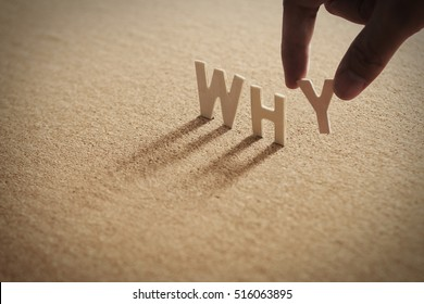WHY word of wood alphabet with shadow on cork board,compressed board