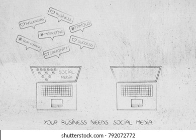 why your business needs social media conceptual illustration: laptop with social media generating comments next to empty laptop without account