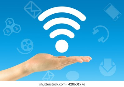 Wi fi concept. Wi fi icon in the man's hand