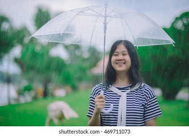 Wiang Chiang Rung , Thailand - August 12 : A young girl handed an umbrella in Wiang Chiang Rung Rai Wiang Chiang Rung in Thailand on August 12, 2016 .