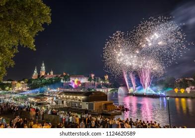 Wianki festival in Krakow, fireworks display