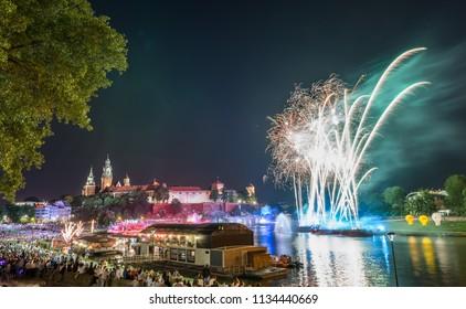 Wianki festival in Krakow, Poland, fireworks display
