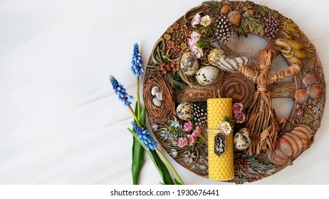 wiccan Altar for spring Ostara sabbath. wheel of the year with flowers and eggs. Esoteric Ritual for Ostara, pagan holiday. Magical Spring equinox. flat lay