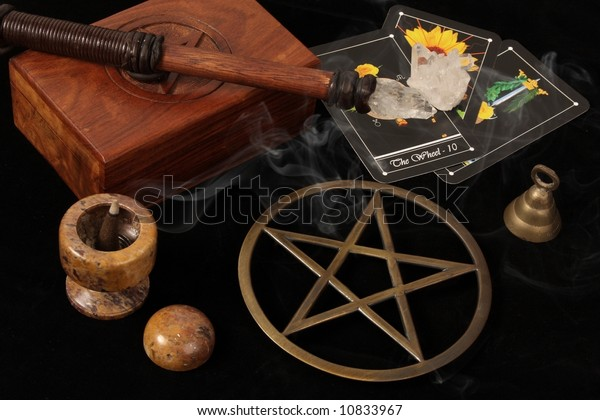 Wiccan Objects Brass Pentacle Wand Wooden Stock Photo Edit Now