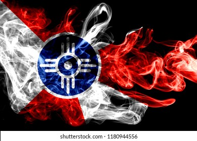 Wichita city smoke flag, Kansas State, United States Of America
