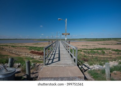 WICHITA FALLS, TEXAS/USA - MAY 28 2014: Lake Arrowhead, Wichita Falls' drinking water supply seen at extremely low levels due to drought.