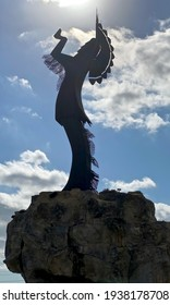 Wichita, Kansas - 2020: The Keeper of the Plains is a 44-foot, 5-ton weathered steel sculpture by Kiowa-Comanche artist Blackbear Bosin at the confluence of the Arkansas and Little Arkansas rivers.
