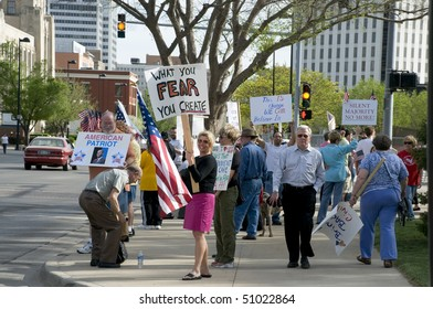 WICHITA, KANSAS - April 15: coffee cup members gather in front of Wichita city hall.  Holding banners and showing support for their cause, April 15, 2010 in Wichita Kansas