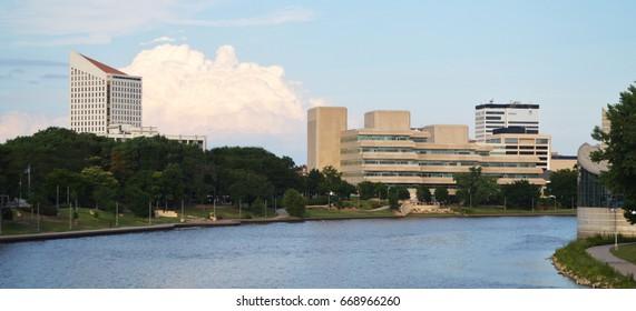 Wichita Kansas and Arkansas River Skyline